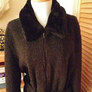 Sandro Belted Charcoal Berber Fleece Jacket Size L